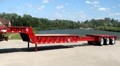 Extendable Double Drop in red color is displayed in the image showing its capability to load certain dimensions freight