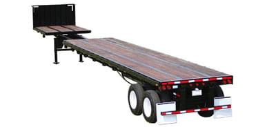 Full Truckload of wood being hauled by a Flatbed Stretch Trailer