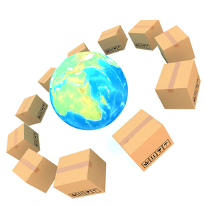 Cardboard boxes around global on white background 3d illustration
